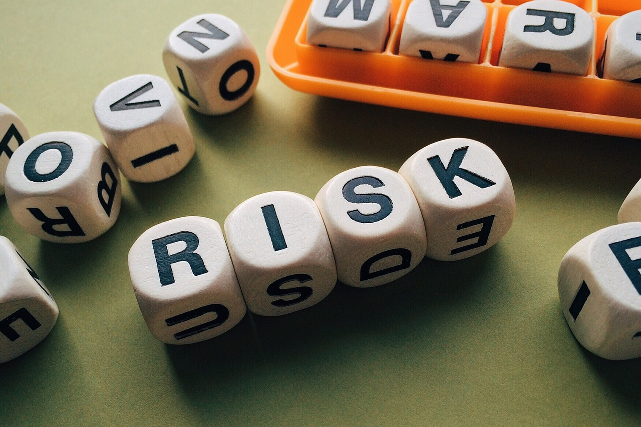Four dice with the letters spelling risk